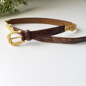 Fossil leather croc embossed gold detail belt